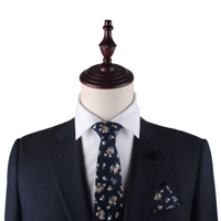 Floral Navy Yellow Skinny Tie & Pocket Square