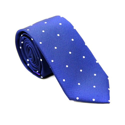 White Polka Dot Navy Tie for Groomsmen