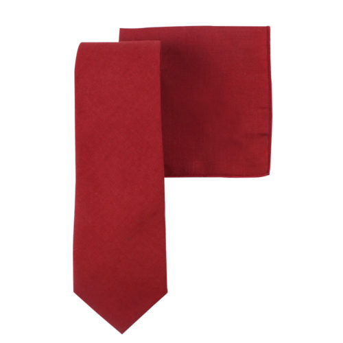 Red Tie & Pocket Square for the Groom