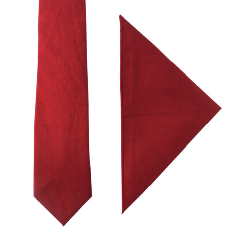 Red Tie & Pocket Square for Men