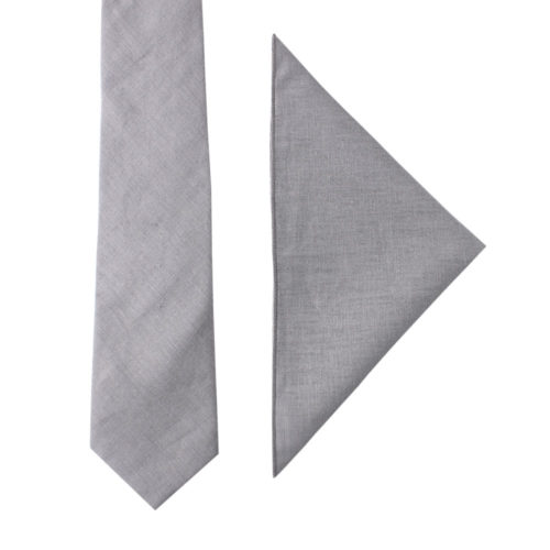 Grey Tie & Pocket Square for the Groom