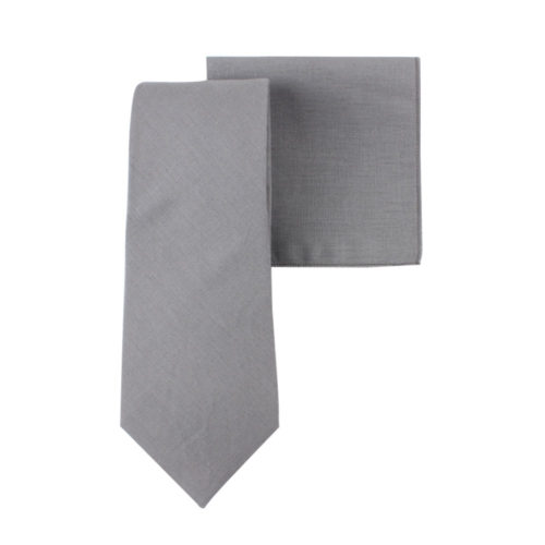 Grey Tie & Pocket Square for Men