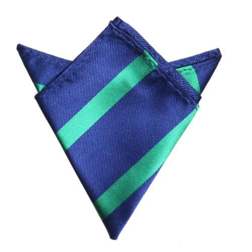 Navy Green Stripe Pocket Square for Him
