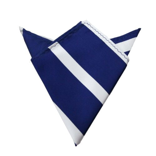 Navy White Stripe Pocket Square for Him