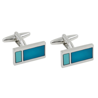 Aqua Rectangle Cufflinks