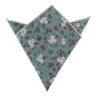 Teal Floral Pocket Square