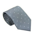 White Polka Dot Grey Skinny Tie