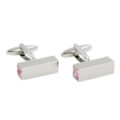 4 Pink Stone Cufflinks for Men