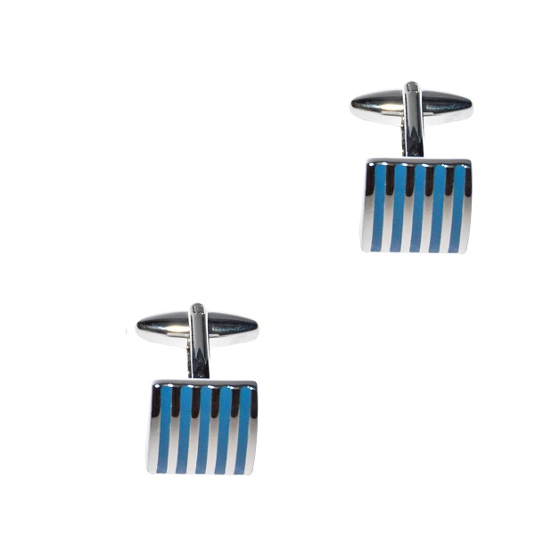 Vertical Blue Cufflinks 3