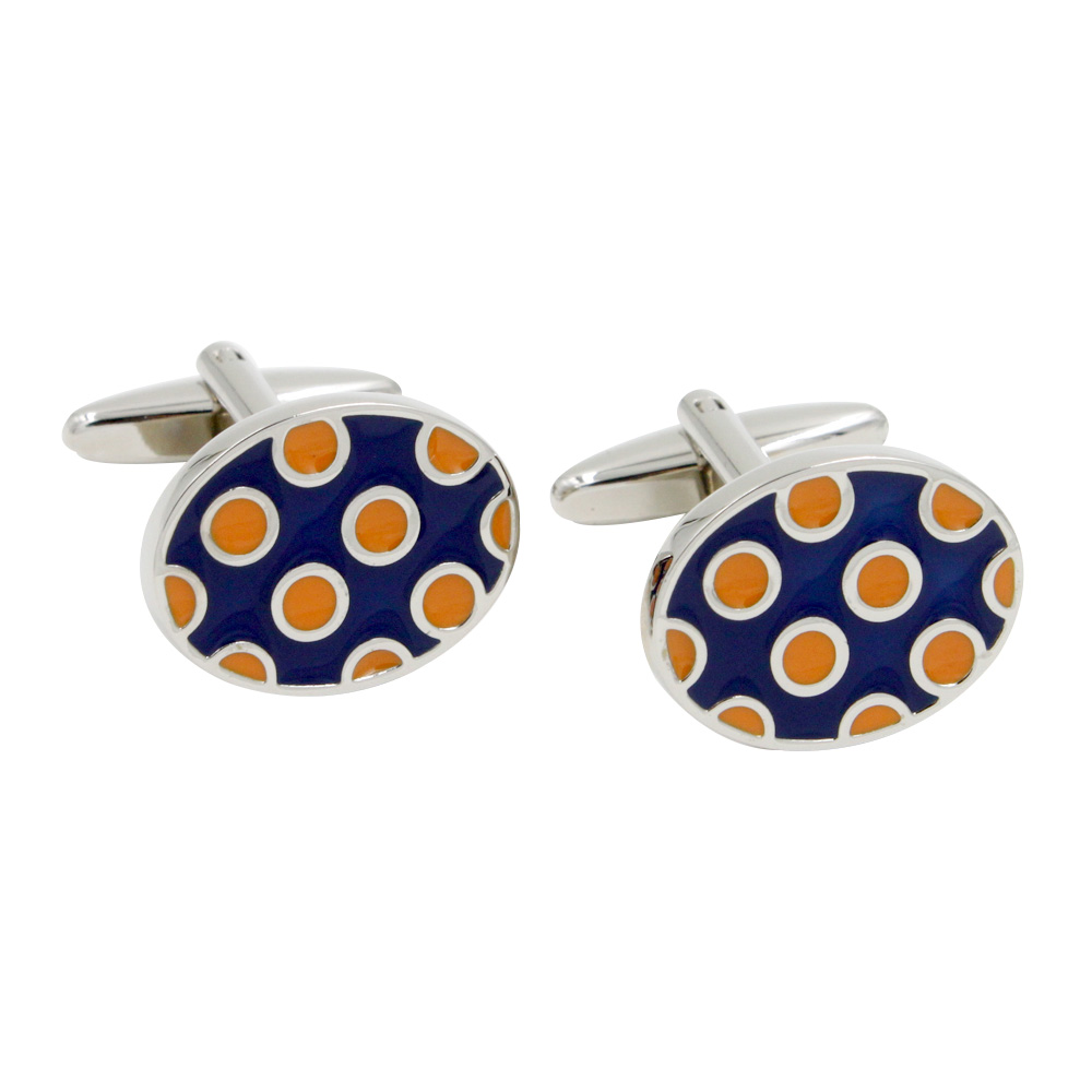 Orange Polka Dot Cufflinks