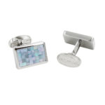 Silver Mosaic Blue Shaded Cufflinks
