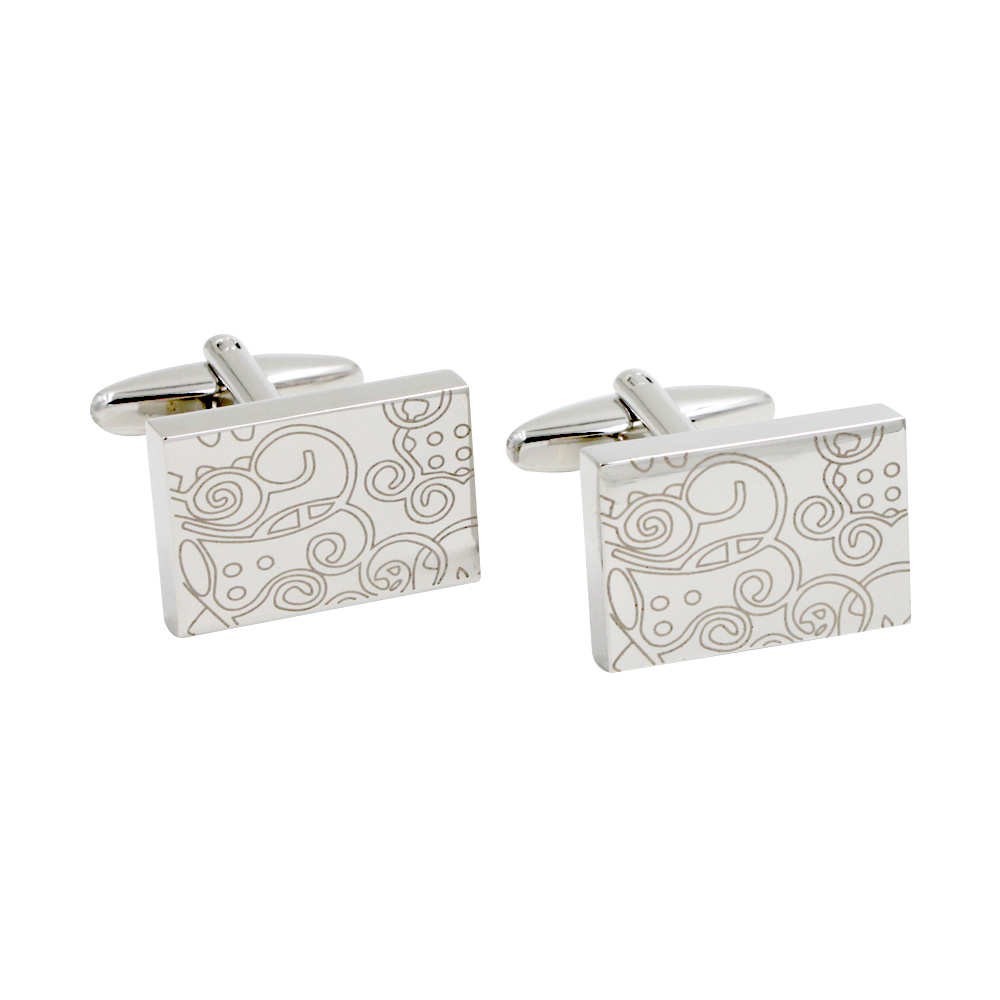 Rectangle Silver Pattern Cufflinks