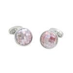 Pink White Silver Cufflinks
