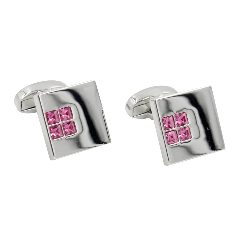 Pink Diamante Cufflinks