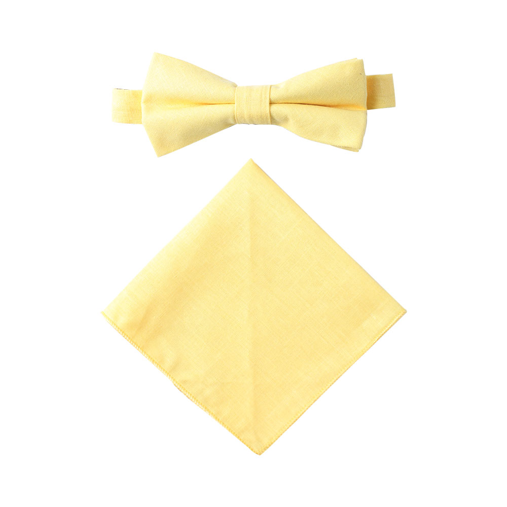 Baby Yellow Bow Tie and Pocket Square Set Wedding