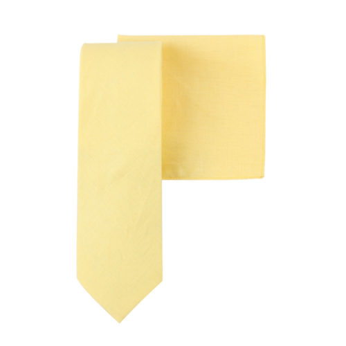 Baby Yellow Tie and Pocket Square Match for Him
