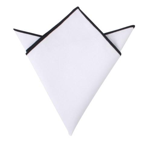 Black Edge White Pocket Square for Groomsmen