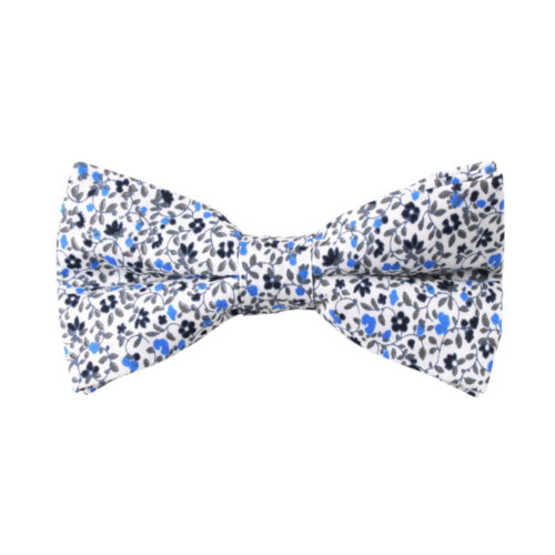 Blue Floral Bow Tie for Weddings