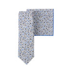 Blue Leafy Floral Tie & Pocket Square Set Online