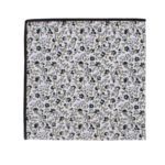 Black Print Floral Pocket Square for Parties