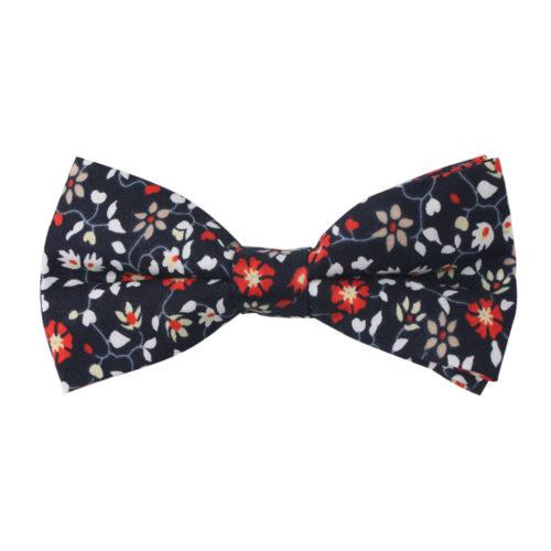Black Red Amaryllis Floral Bow Tie