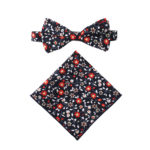 Black Red Floral Bow Tie and Pocket Square Set Wedding Bow Ties