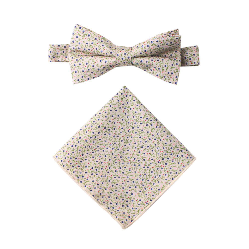 Blue Forget-Me-Nots Floral Bow Tie Pocket Square Sets for Men