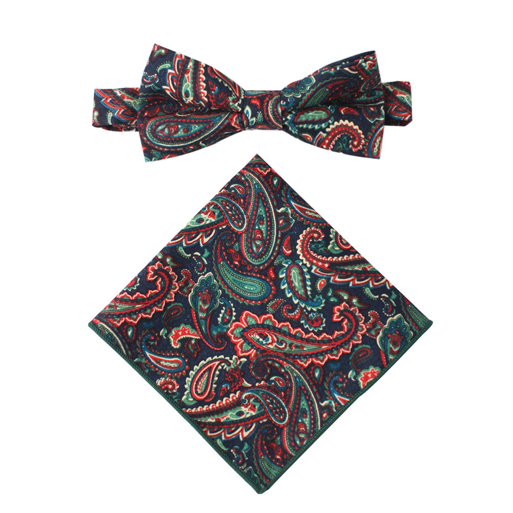 Carpe diem Paisley Bow Tie & Pocket Square Combo for Groomsmen