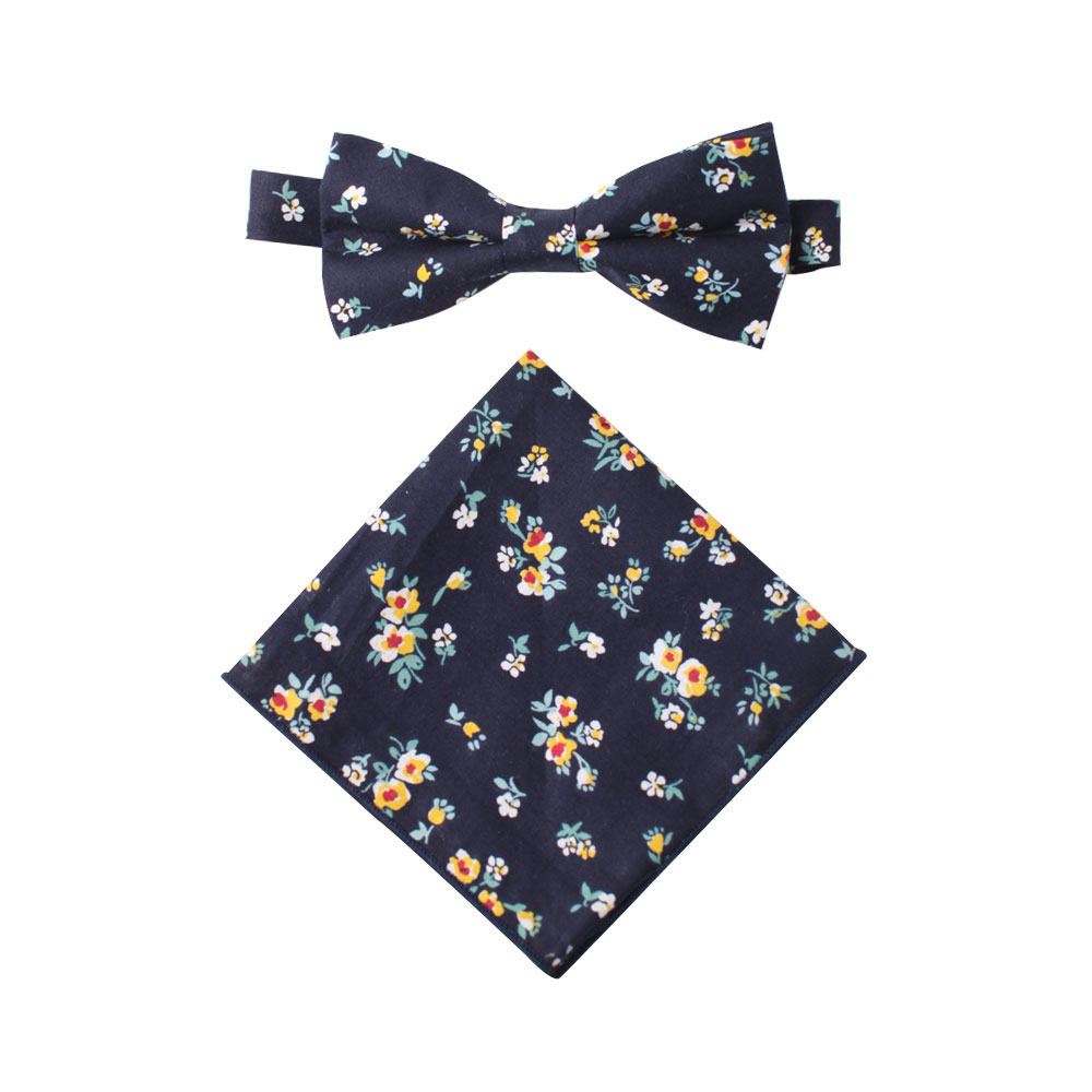Floral Navy Yellow Bow Tie & Pocket Square Sets for Grooms