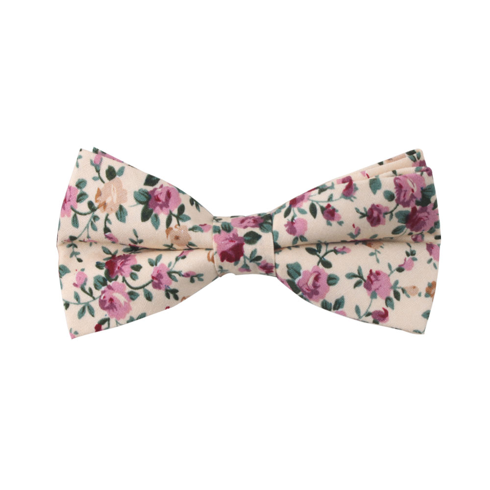 Pastel Pink Rose Floral Bow Tie For Men