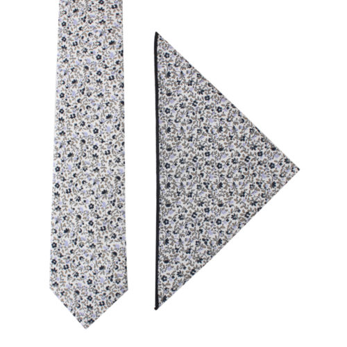 Black Print Floral Ties & Pocket Square Set Groomsmen