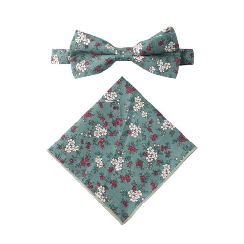 Blue White Pink Floral Bow Tie and Pocket Square Sets Weddings