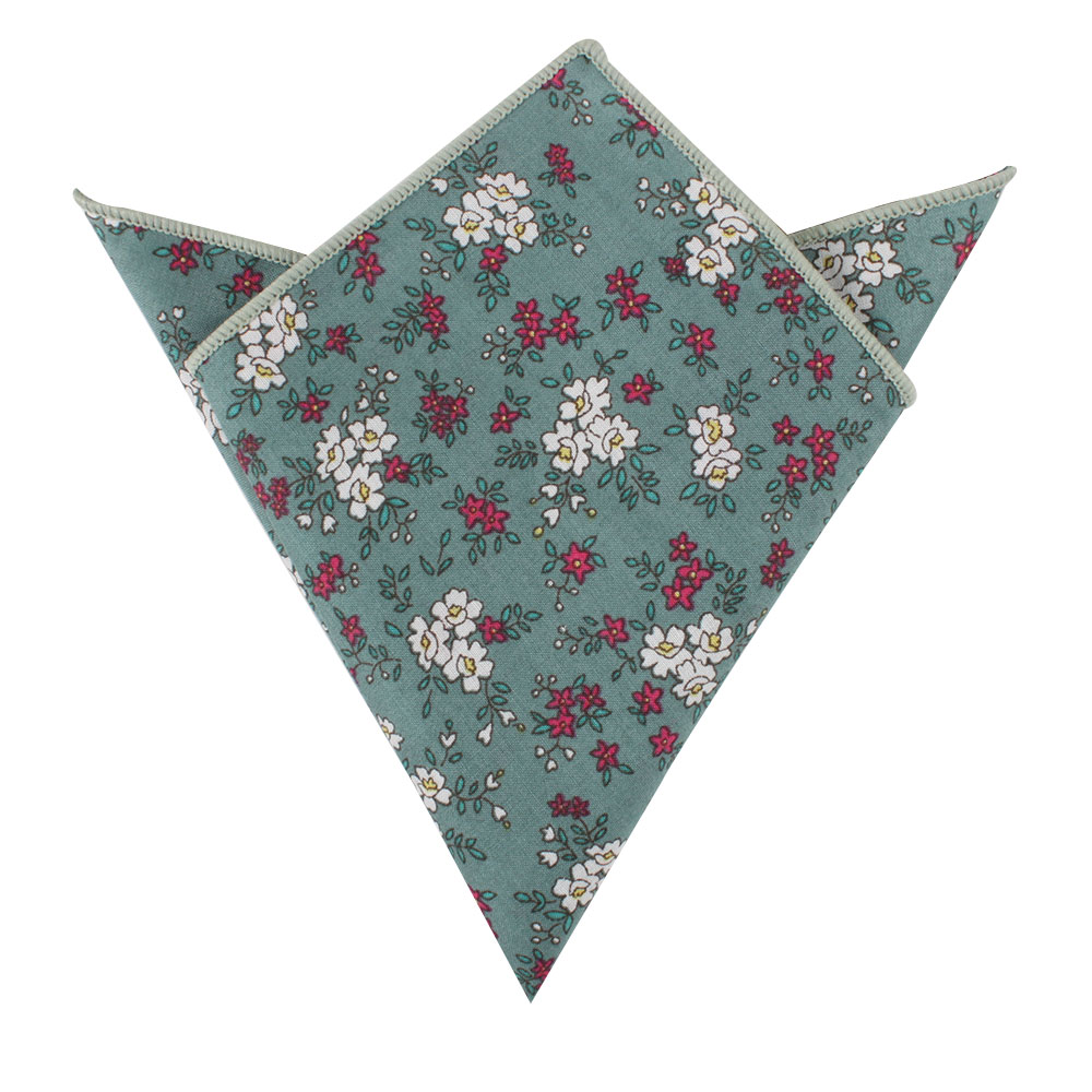 Blue White Pink Floral Pocket Squares for Men