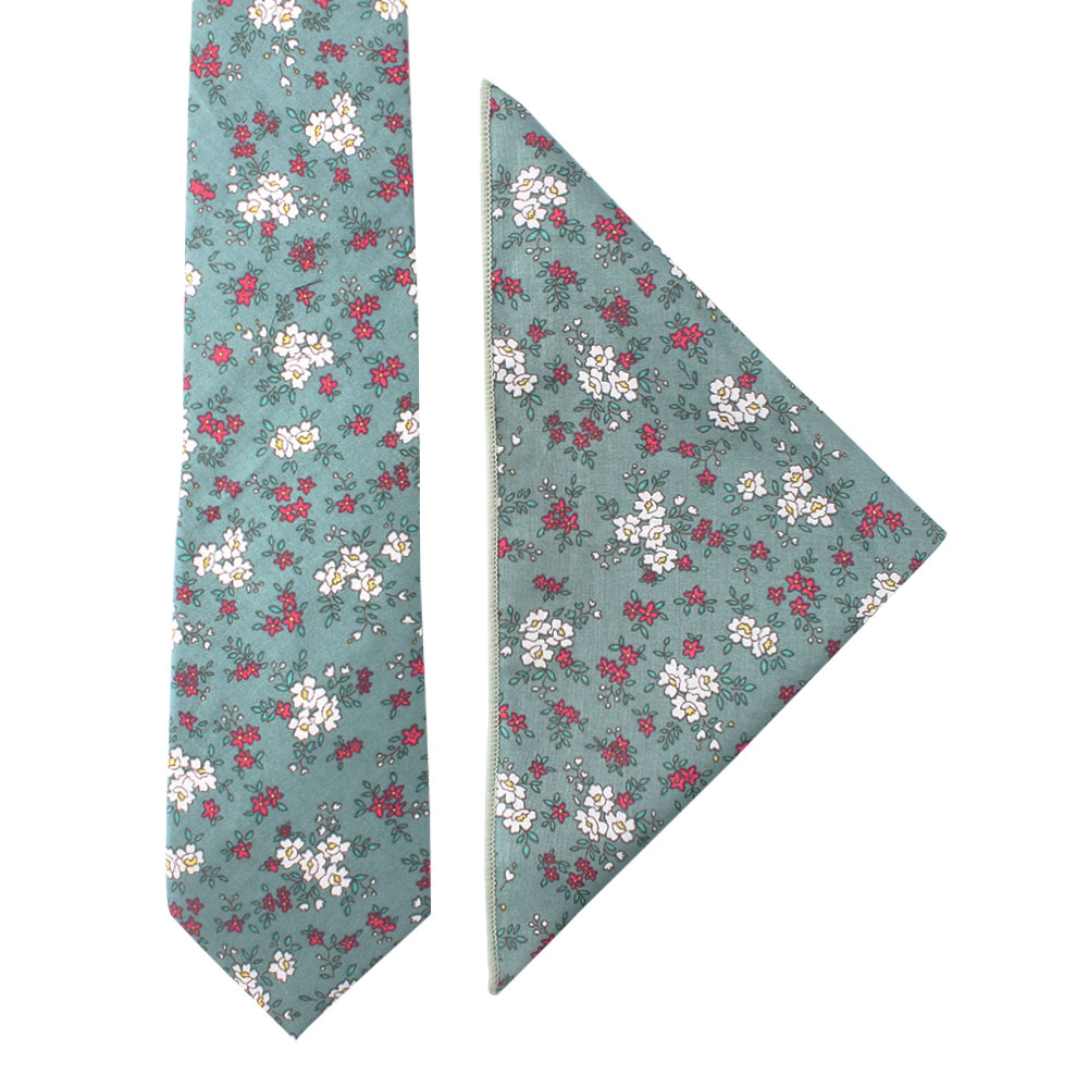 Blue White Pink Floral Tie and Pocket Square Set for Men
