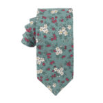Blue White Pink Floral Tie for Groomsmen
