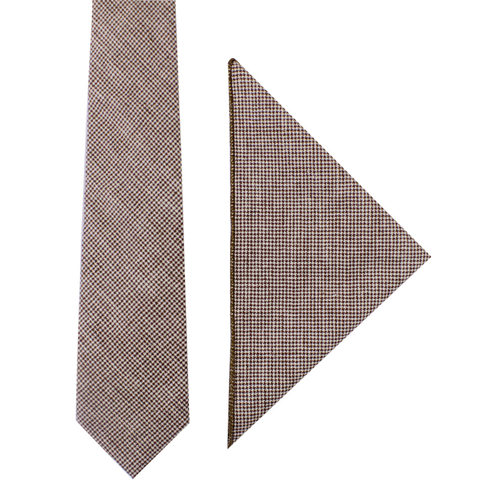 Brown Mini Houndstooth Tie and Pocket Square Set Groomsmen Sets Online