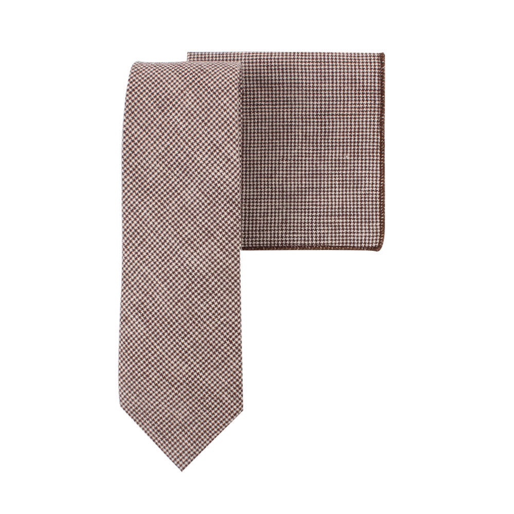 Brown Mini Houndstooth Tie and Pocket Square Set Groomsmen Weddings