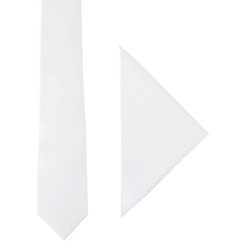 Classic White Tie and Pocket Square Sets