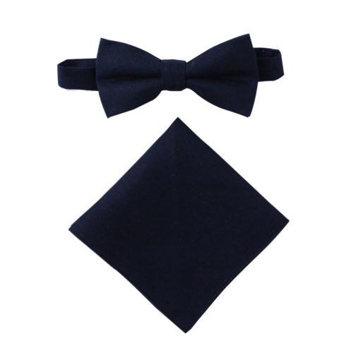 Dark Forest Navy Bow Tie & Pocket Square Set Groomsmen