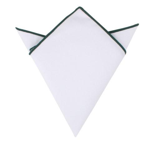 Dark Green Edge White Pocket Square for Men