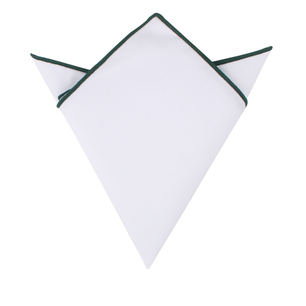 Dark Green Edge White Pocket Square for Men