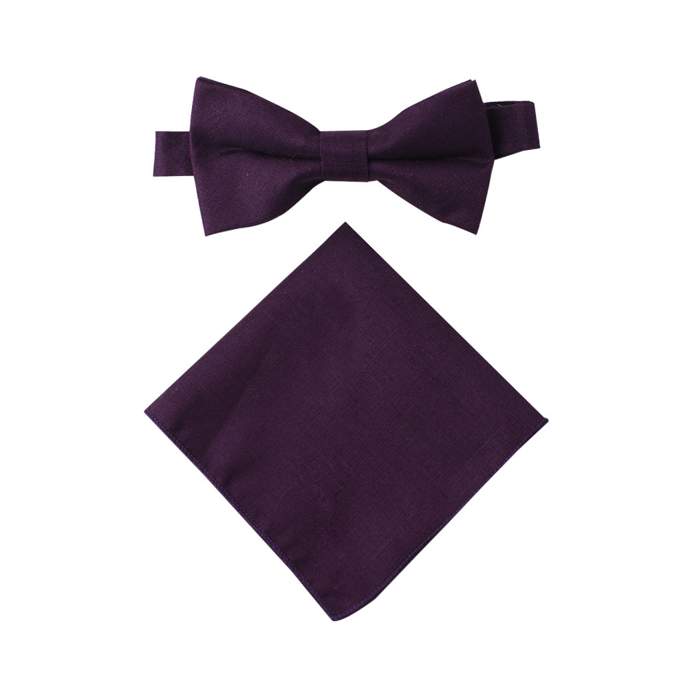 Dark Purple Bow Tie and Pocket Square Combo for Men