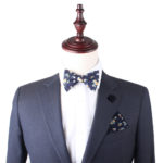 Floral Navy Yellow Self Tie Bow Tie & Pocket Square Set Groomsmen Weddings