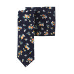 Floral Navy Yellow Tie & Pocket Square Set Groomsmen