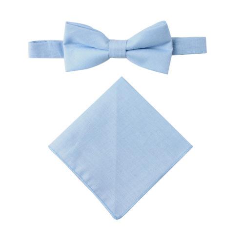 Light Blue Bow Tie & Pocket Square Combo Groomsmen Weddings