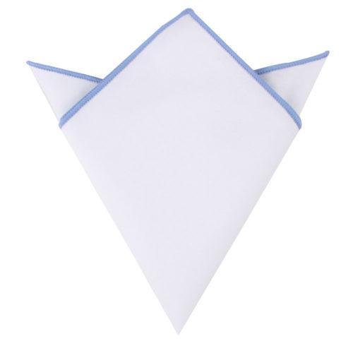 Light Blue Edge White Pocket Square for Men Australia