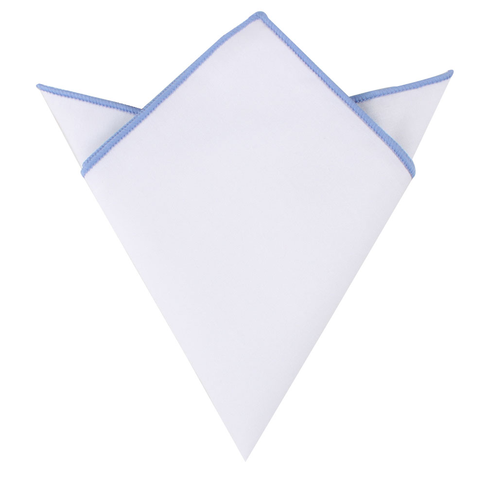 Light Blue Edge White Pocket Square for Men Australia