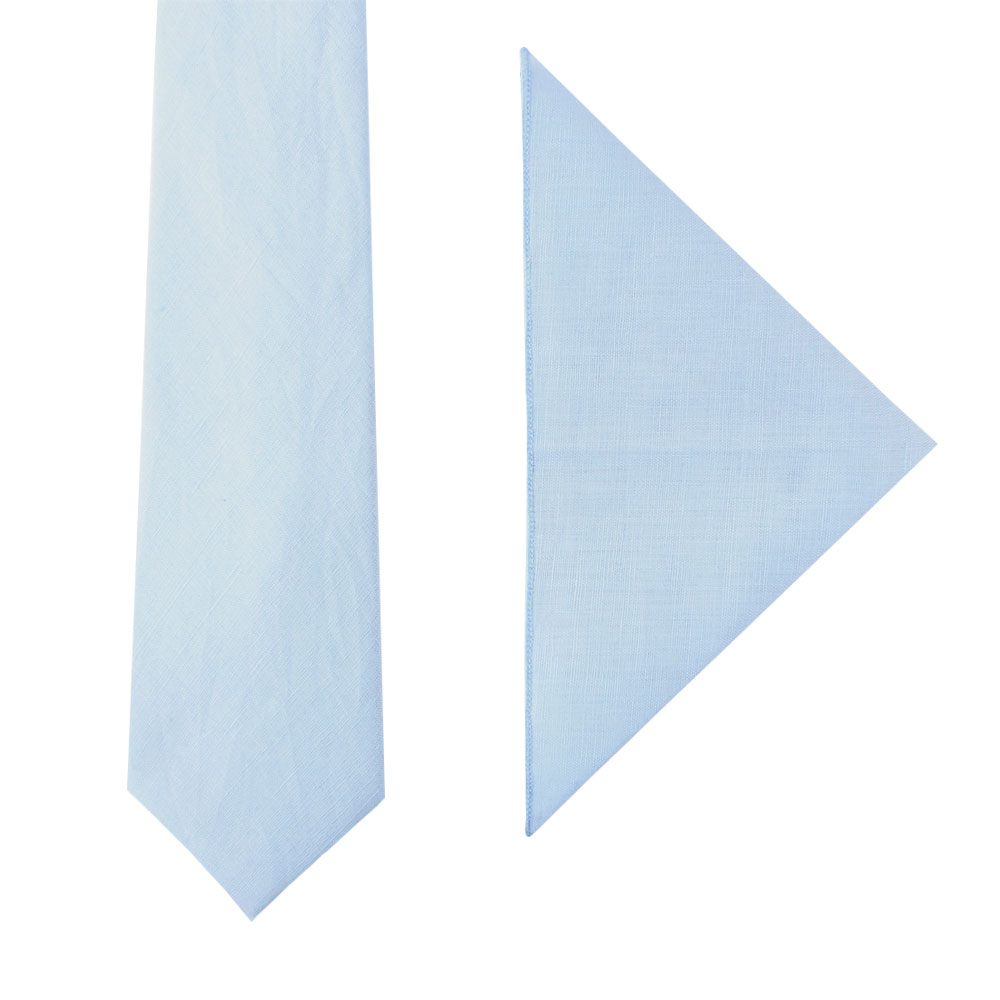 Light Blue Tie & Pocket Square Set Groomsmen Weddings