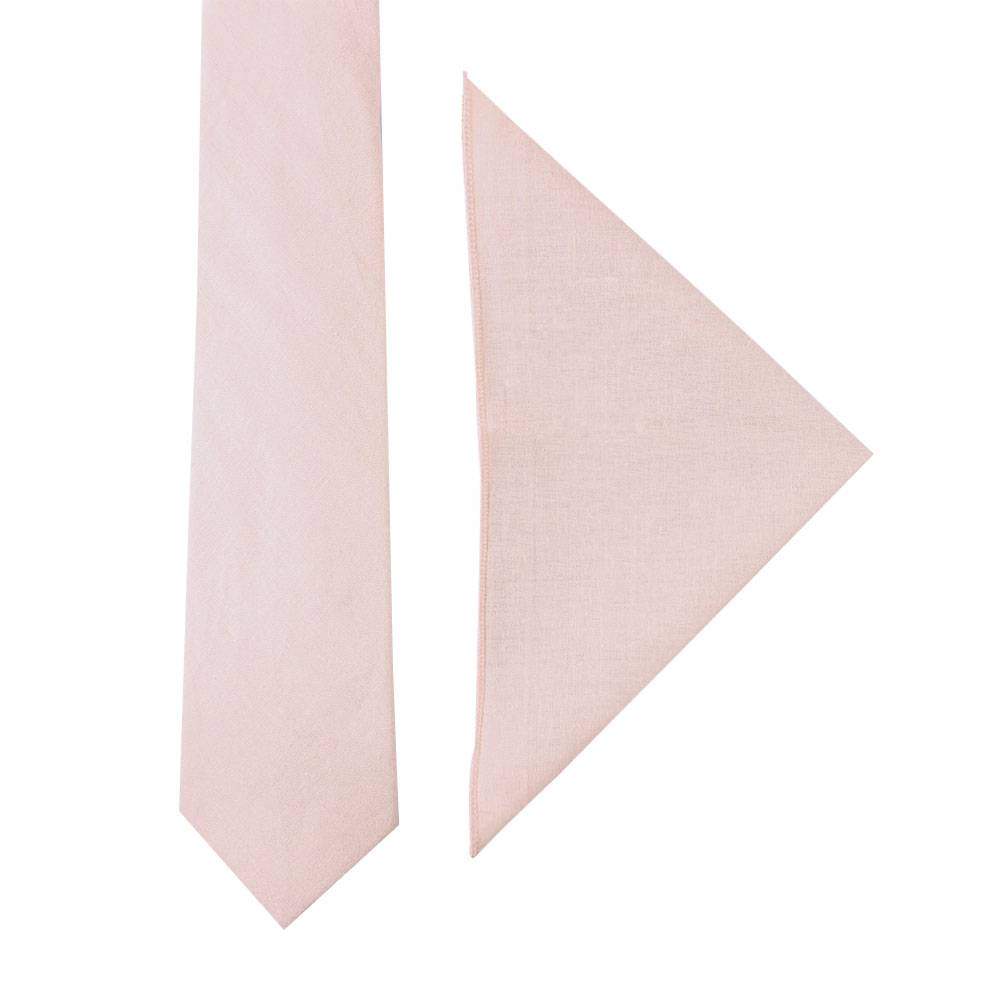 Light Pink Tie & Pocket Square Set Groomsmen Men