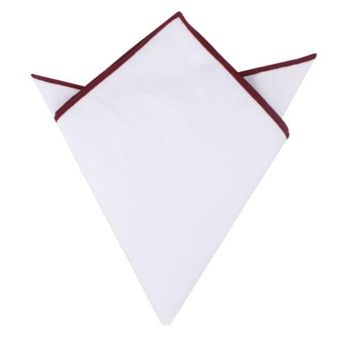 Maroon Edge White Pocket Square for Men Melbourne